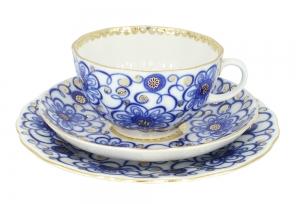 Lomonosov Imperial Porcelain Tea Cup Set 3pc Tulip Bindweed 8.45 oz/250 ml