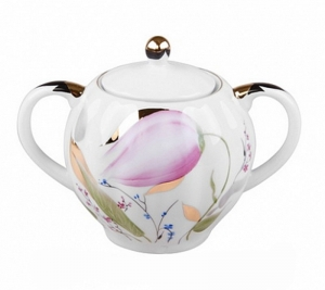 Lomonosov Imperial Porcelain Sugar Bowl Pink Tulips 15 oz/450 ml