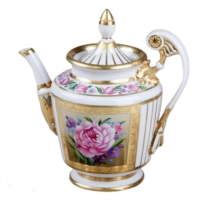 Lomonosov Imperial Porcelain Tea Pot Alexandria Recollection 27 oz/800 ml