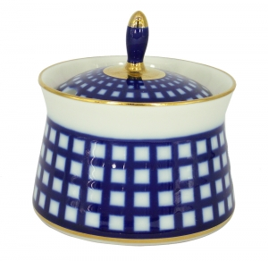 Lomonosov Imperial Porcelain Dressing Bowl Cobalt Cell 6.8 fl.oz/200 ml