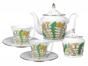 Lomonosov Porcelain Bone China Porcelain Tea Set Service 6/14 Yulia Sunny Bouquet