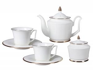 Russian Porcelain Bone China Porcelain Tea Set Service 6/14 Yulia Golden Ribbon