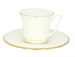 Imperial Porcelain Bone China Porcelain Tea Cup and Saucer Yulia Golden Ribbon 7 fl.oz/210 ml