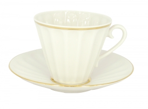 Imperial Lomonosov Porcelain Cup and Saucer Radiant Snow White 7.95 oz/235 ml