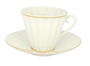 Imperial Lomonosov Porcelain Cup and Saucer Radiant Snow White 7.95 oz/235 ml