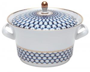 Russian Porcelain Porcelain Soup Bowl Tureen Youth Cobalt Net 113.3 oz/3350 ml