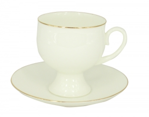 Lomonosov Porcelain Bone China Coffee Set Gold Edging Cup 5.41 oz/160 ml 2pc