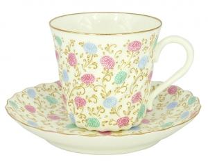 Imperial Porcelain Bone China Twist Tea Cup and Saucer Сhrysanthemum 5.24 fl.oz/155ml