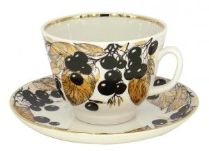 Lomonosov Imperial Porcelain Tea Set Cup and Saucer Gift Black Chokeberry 12.7 oz/375 ml