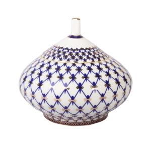 Lomonosov Imperial Porcelain Bone China Sugar Bowl Dome Cobalt Net 12.2 fl.oz/360 ml