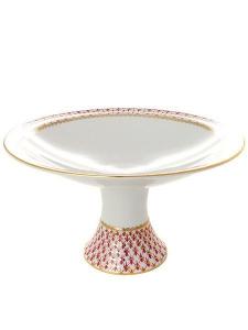 Lomonosov Porcelain Fruit Vase Youth Red Net Blues Diameter 8