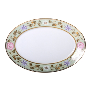 Imperial Porcelain Porcelain Oval Platter Jade Background 15.7