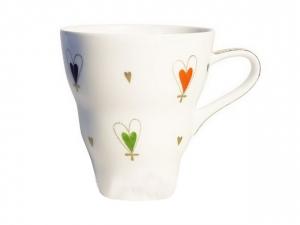 Bone China Porcelain Mug Wavy With Love 14.2 fl.oz/420 ml