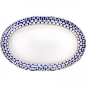 Lomonosov Porcelaine Oval Platter Herring Dish Cobalt Net 9.8