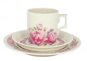 Lomonosov Porcelain Tea Set 3 pc Cup with Saucer and Cake Plate Romantic Date