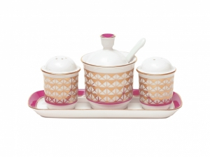 Lomonosov Imperial Porcelain Salt Pepper Spice Set 4 pc Moscow River