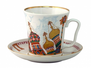 Porcelain Mug and Saucer Leningradskii Church of the Savior on the Spilled Blood 12.2 fl.oz/360 ml