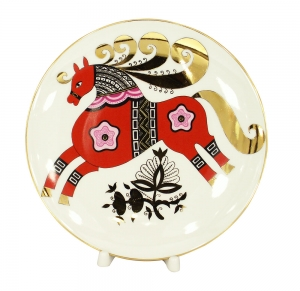 Decorative Wall Plate Red Horse 7.7