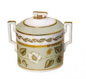 Lomonosov Imperial Porcelaine Sugar Bowl Jade Background 13.5 oz/400 ml