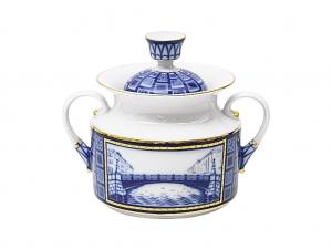 Lomonosov Imperial Porcelaine Sugar Bowl Bridges of Petersburg 18.3 oz/540 ml