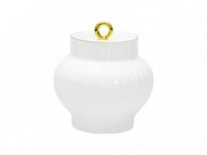 Lomonosov Imperial Porcelaine Sugar Bowl Wave Golden Edge 13.9 oz/390 ml