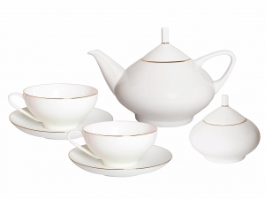 14-piece Golden Ribbon Domes Tea Set for 6