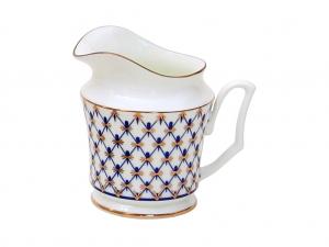 Lomonosov Imperial Porcelain Bone China Creamer Yulia Cobalt Net 4.1 fl.oz/120 ml
