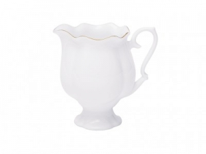 Lomonosov Imperial Porcelain Bone China Porcelain Creamer Natasha Golden Ribbon 10.8 fl.oz/320 ml