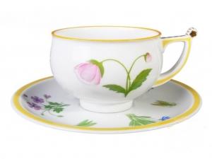 Imperial Lomonosov Porcelain Tea Set Cup and Saucer Kostroma Poppy 10 oz/300 ml