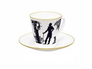 Lomonosov Porcelain Bone China Cup and Saucer Meeting 2.71 fl.oz/80 ml
