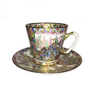 Lomonosov Imperial Porcelain Bone China Cup and Saucer Oriental Gifts 2.71 fl.oz/80 ml