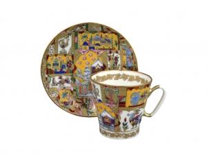 Lomonosov Porcelain Imperial Bone China Cup and Saucer Fairytale 2.71 fl.oz/80 ml