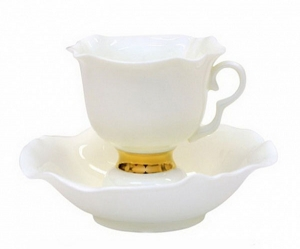 Lomonosov Exclussive Bone China Tea Set White Flower 2pc 6.8 oz/200 ml