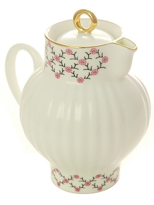 Lomonosov Imperial Porcelain Bone China Creamer Wave Pink Net 9 fl.oz /270 ml