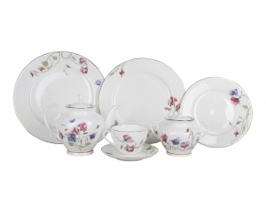 Lomonosov Porcelain Spring-2 Tea Set Flowering Sweet Pea 20 items