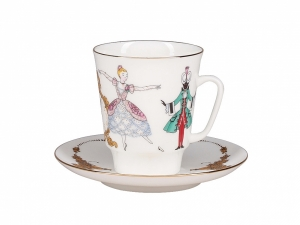 Lomonosov Porcelain Bone China Cup and Saucer May Ballet Cinderella (Prokofiev) 5.6 fl.oz/165 ml 3 pc