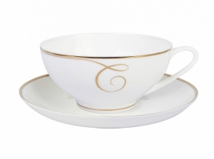 Lomonosov Porcelain Tea Set Cup and Saucer Dome Golden Curls 10 oz/300 ml