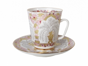 Bone China Cup and Saucer May Golden Vases 5.6 fl.oz/165 ml 2 pc