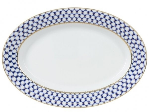 Lomonosov Porcelain Oval Serving Platter Cobalt Net 14.2