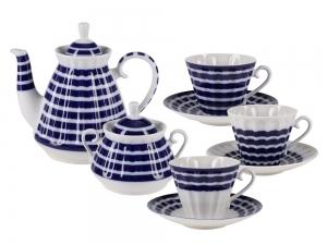 Lomonosov Porcelain Tea Set Blue Stripes 6/14
