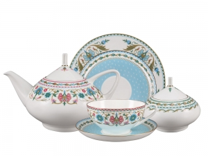 Lomonosov Porcelain Tea Set Oriental Ornament Dome 20 items for 6 persons Bone China
