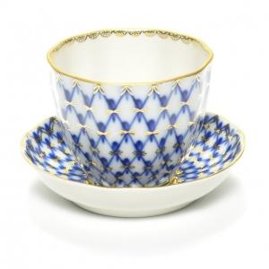 Lomonosov Porcelain Tea Piala with Saucer Tulip Cobalt Net 4.7 oz/140 ml
