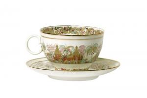 Lomonosov Porcelain Tea Cup and Saucer Apple Landscape Frieze 5.4 fl. oz/160 ml