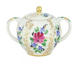 Lomonosov Imperial Porcelaine Sugar Bowl Tulip Golden Grasses 15 oz/450 ml