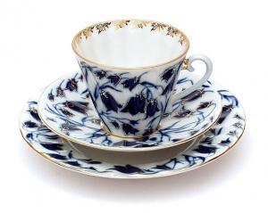 Russian Porcelain Porcelain Set 3pc Cup, Saucer and Plate Radiant Blue Bells 7.95 oz/235 ml