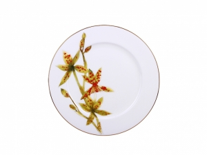 Lomonosov Porcelain Dinner Plate Yellow Orchid 10.6