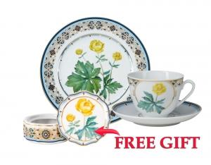Special Offer Set: Decorative Plate and Teacup with Free Bijou Box Trollius Lomonosov Porcelain