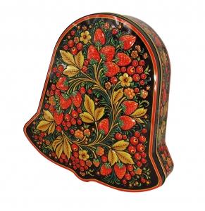 Lomonosov Black Tea 5.3 oz/150 gr in Metal Bell Box Khokhloma Painting