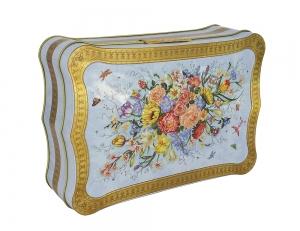 Lomonosov Porcelain Black Tea Forest Berries 5.3 oz/150 gr in Metal Box Flowers on Blue