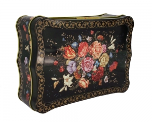 Imperial Porcelain Black Tea 5.3 oz/150 gr in Metal Box Flowers on Black